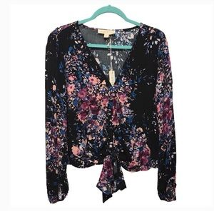 Lovestitch Boho Floral Front Tie Top Size Small